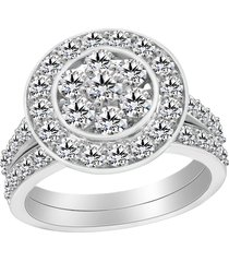 1.29 ct round cut diamond 925 silver engagement ring set 14k white gold finish