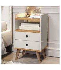 mesa de cabeceira retrô  dream plus - nature / off white - mania de móveis