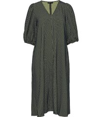 mavelin, 916 grid stretch jurk knielengte groen stine goya