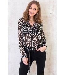 zebra blouse zwart