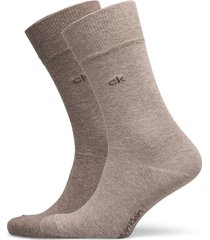 ck men crew 2p casual flat knit cot underwear socks regular socks grön calvin klein