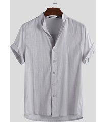 cuello alto liso de algodón y lino para hombres camisa