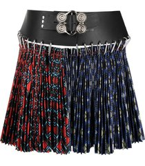 chopova lowena split plaid pleated skirt - blue