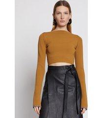 proenza schouler compact knit top oak/brown l