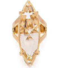 anel  navete  semijoia banho de ouro 18k cristal incolor