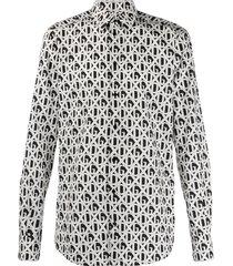 dolce & gabbana diamond check logo print shirt - black