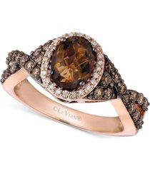 le vian chocolate quartz (1-1/8 ct. t.w.), chocolate diamond (1/2 ct. t.w.) and vanilla diamond (1/10 ct. t.w.) ring in 14k rose gold