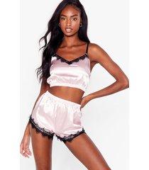 womens don't lace our time satin 3-pc shorts pajama set - blush