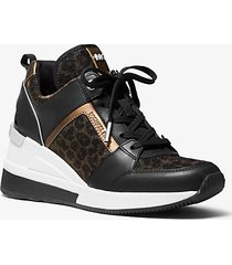 mk sneaker georgie in pelle e mesh con stampa leopardo e glitter - nero/bronzo (nero) - michael kors