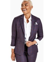 kirrin finch plum windowpane-plaid blazer