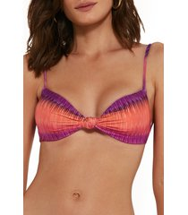 women's vix swimwear france erin knot bikini top, size medium - green