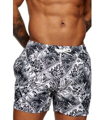 men's topman tiki print swim shorts
