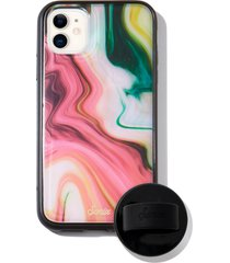 sonix blush agate print iphone 11 case & silicone phone ring - pink