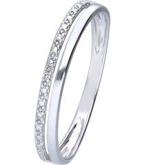 anello doppia fascia in oro bianco con diamanti 0,009 ct per donna