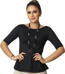 blusa ficalinda eco fashion meia manga preta evasê