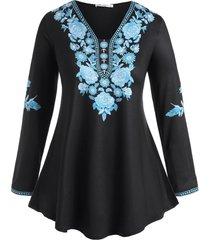 plus size floral print tunic swing t shirt
