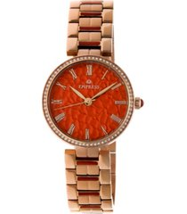 empress catherine automatic red dial, rose gold stainless steel watch 36mm