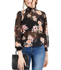 bar iii floral smock-neck top, created for macy's
