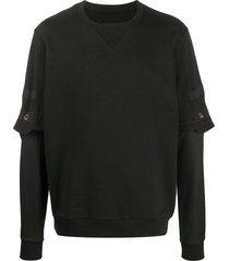les hommes overlay sleeve sweatshirt - black