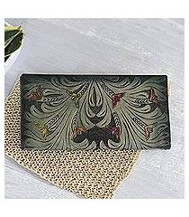 leather wallet, 'verdant vines' (india)