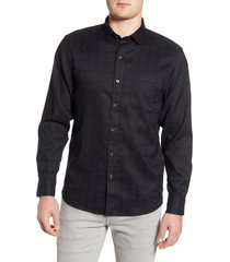 men's tommy bahama costa capri classic fit linen blend button-up shirt, size medium - black