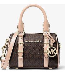 mk borsa a tracolla bedfordlegacy extra small con logo - marrone/rosa tenue (marrone) - michael kors