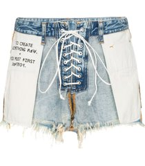unravel project distressed reverse lace up denim shorts - blue