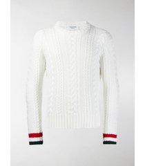 thom browne white aran cable crewneck pullover
