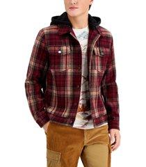 sun + stone men's plaid trucker jacket, created for macy's