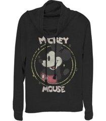 fifth sun juniors disney mickey classic happy mickey fleece cowl neck sweatshirt