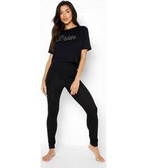 bride pyjama set met steentjes en leggings, black