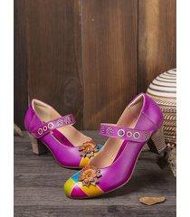 socofy eleganti fiori decor cuciture colorblock pelle di vacchetta retro cinturino alla caviglia décolleté con tacco gro