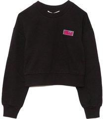 rubber sports patch sweatshirt in black