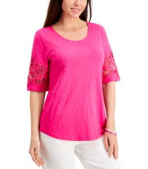 charter club cotton lace-trimmed top, created for macy's