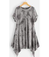 camicetta per le donne manica corta tinta unita irregolare pieghettato