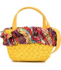 familiar plaid-trimmed tote - yellow