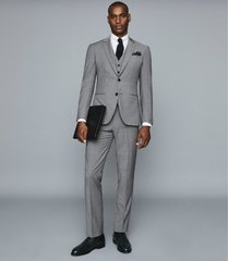 reiss pray - slim fit travel blazer in grey, mens, size 46l