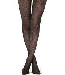 calzedonia sheer micro polka dot tights woman black size 1/2