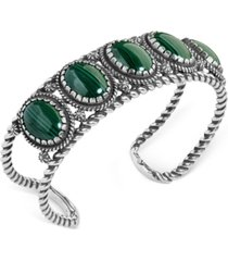 american west malachite rope cuff bracelet in sterling silver