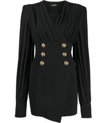 balmain decorative button short dress - black