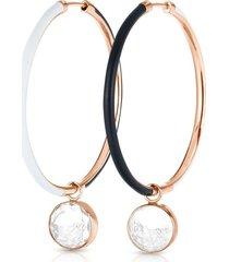black and white enamel hoop earrings