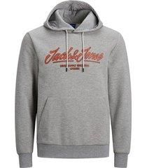 sweater jack & jones 12184617 jorclark sweat hood light grey melange