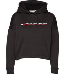 cropped fleece hoody hoodie trui zwart tommy sport