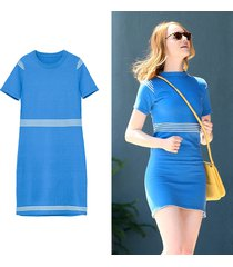 la la land mia emma stone costumes knit dress blue and white summer dress