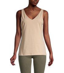 saks fifth avenue women's stretch-cotton tank top - nude - size l