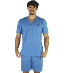 pijama mvb modas  adulto curto verã£o azul claro - azul - masculino - poliã©ster - dafiti