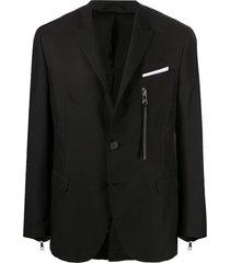 neil barrett blazer abotoamento simples com aplicação de zíper - preto