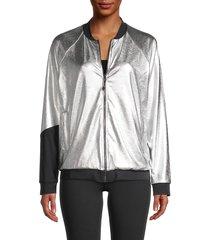 koral women's gilded colorblock bomber jacket - silver black - size xs