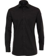 casa moda heren overhemd zwart poplin ml6 modern fit
