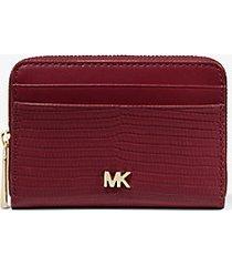 mk portafoglio piccolo bicolore in pelle stampa lucertola - dk berry - michael kors